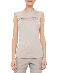 Akris - Natural Jewel-Neck Sleeveless Sweater - Lyst