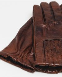Zara | Brown Gathered Detail Leather Gloves for Men | Lyst