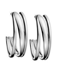 Calvin Klein | Gray Stainless Steel Polished Hoop Earrings | Lyst