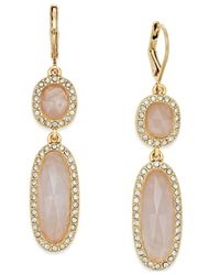 kate spade new york | Metallic Gold-tone Rose Quartz Double Drop Earrings | Lyst