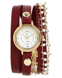 La Mer Collections - Purple Beaded Chain & Leather Wrap Watch - Lyst