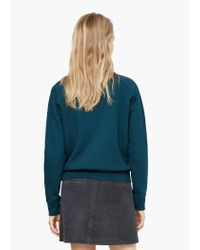 Mango   Blue Printed Velvet Message Sweatshirt   Lyst