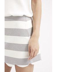 4a450ab62 Lyst - TOPSHOP Petite Striped Scallop Hem Mini Skirt in White