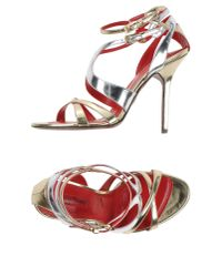 Cesare Paciotti - Metallic Sandals - Lyst