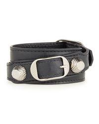 Balenciaga - Gray Giant 12 Leather Wrap Bracelet - Lyst
