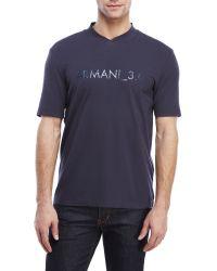Armani - Blue V-Neck Logo Tee for Men - Lyst