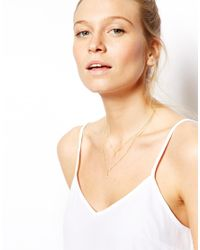 ASOS | Metallic Gold Plated Sterling Silver Double Drop Necklace | Lyst