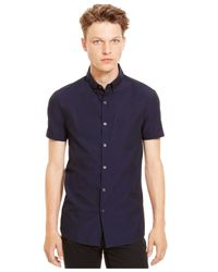 Kenneth Cole Reaction | Blue Iridescent Short-sleeve Shirt for Men | Lyst