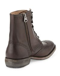 Andrew Marc - Black Hillcrest Leather Wing-tip Boot for Men - Lyst