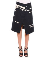 Jil Sander - Black Broken Stripe-print Asymmetric Skirt - Lyst