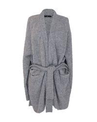Tibi Gray Cozy Alpaca Oversized Cardigan