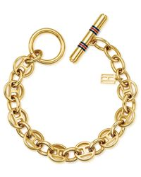 Tommy Hilfiger | Metallic 14k Gold-plated Stainless Steel Flag Link Toggle Bracelet | Lyst