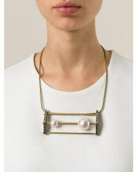 Lanvin | Metallic Pearl Detail Necklace | Lyst