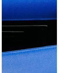 Saint Laurent - Blue 'classic Monogram' Clutch - Lyst