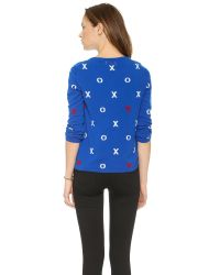 Chinti & Parker - Hugs Kisses Hearts Cashmere Sweater Electric Blue Creamruby - Lyst