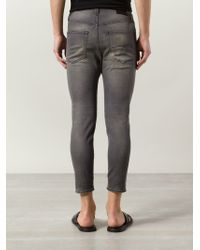 R13 | Gray Distressed Cropped Skinny Jeans for Men | Lyst
