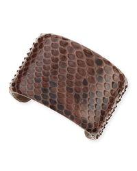 Brunello Cucinelli | Brown Wide Python Cuff Bracelet | Lyst