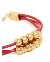 Alexander McQueen | Red Multi Skull Leather Bracelet | Lyst