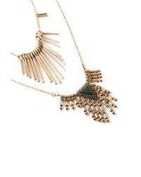 Forever 21 | Metallic Fringed Faux Stone Necklace Set | Lyst