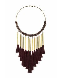 TOPSHOP - Red Fabric And Tassel Torque - Lyst