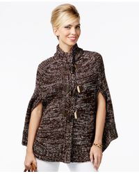 Michael Kors | Brown Michael Toggle-front Marled Poncho Sweater | Lyst