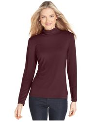 Style & Co. | Black Petite Mock-turtleneck Top, Only At Macy's | Lyst
