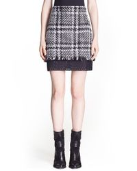 MSGM - Black Plaid Tweed Miniskirt With Contrast Inset - Lyst
