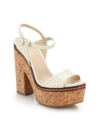 Jimmy Choo - White Naylor Cork-heeled Leather Sandals - Lyst