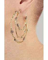 Alexis Bittar | Metallic Imperial Crystal Lace Hoop Earrings - Gold | Lyst