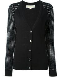 MICHAEL Michael Kors - Black Embellished Sleeves V-neck Cardigan - Lyst
