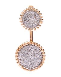 Kismet by Milka | Metallic Gold Two Disc White Diamond Earcuff | Lyst