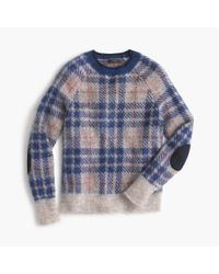 J.Crew | Blue Brushed Wool-blend Crewneck Sweater In Plaid | Lyst