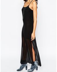 Aka - Cross Back Chiffon Overlay Maxi Dress - Black - Lyst