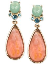 Anne Klein | Orange Gold-tone Post Drop Earrings | Lyst
