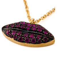 Delfina Delettrez - Purple 'lips Piercing' Chain Necklace - Lyst