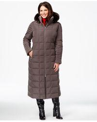 Calvin Klein | Gray Plus Size Faux-fur-trim Down Maxi Coat | Lyst