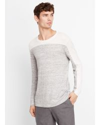 Vince | Gray Sporty Jaspé Colorblock Crew Neck Sweater for Men | Lyst