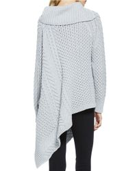 Vince Camuto - Blue Mixed Cable-knit Asymmetrical Sweater - Lyst