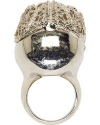Alexander McQueen | Metallic Silver Filigree Skull Ring | Lyst