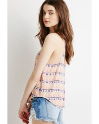 Forever 21 | Natural Striped Geo Pocket Tank | Lyst