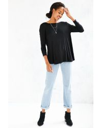 Project Social T | Black Delia Surplice-back Top | Lyst