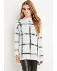 Forever 21 | White Eyelash Knit Plaid Sweater | Lyst