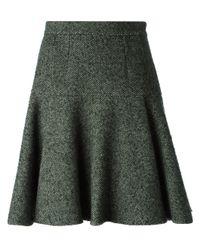 Dolce & Gabbana   Green Pleated Herringbone Skirt   Lyst