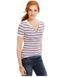 Tommy Hilfiger | Multicolor Striped Split-neck Top | Lyst
