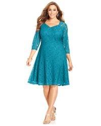Spense | Blue Plus Size Three-quarter-sleeve Lace A-line Dress | Lyst