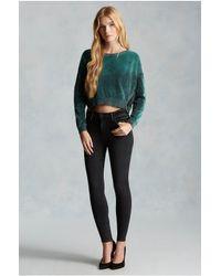 True Religion | Green Moto Zip Velour Womens Sweatshirt | Lyst