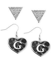 Guess - Metallic Rhodium-tone Crystal Logo Triangle Heart Drop Earrings - Lyst