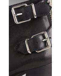 Burberry - Black Double Buckle Leather Ankle Boots - Lyst