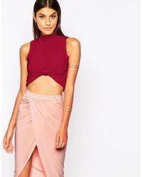 Club L | Purple Knot Front Crop Top With High Neck | Lyst