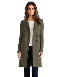 James Perse | Green Long Fleece Military Coat in Army | Lyst